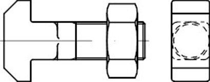 DIN 186 Form B Mu Stahl blank 4.6 Hammerschrauben mit Vierkant