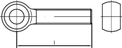 DIN 444 Form LB Gewinde bis annähernd Kopf  Stahl 4.6 galv. vz Augenschrauben