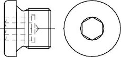 DIN 908 Messing zyl.-Rohr G Verschlussschrauben mit Bund und Innensechskant