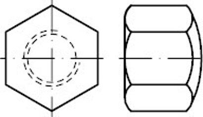 DIN 917 Messing Sechskant-Hutmuttern, niedrige Form