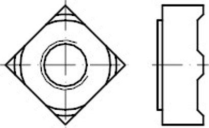 DIN 928 Stahl Vierkant-Schweißmuttern