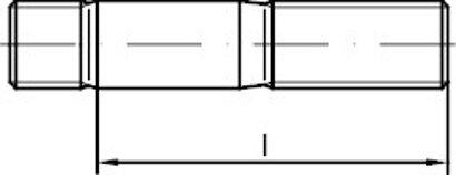 DIN 938 Stahl 5.8 galvanisch verzinkt Stiftschrauben, Einschraubende = 1 d