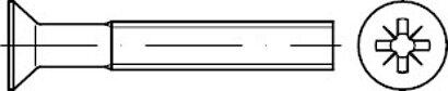 DIN 965 Stahl 4.8 Z galvanisch vz Senkschrauben mit Pozidriv-Kreuzschlitz Z