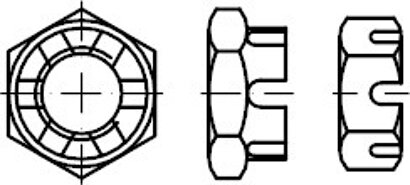DIN 979 04 Fein Niedrige Kronenmuttern, mit metrischem Feingewinde