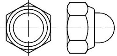 DIN 986 A 2 Sechskant-Hutmuttern mit Klemmteil mit nichtmetallischem Einsatz