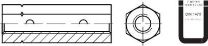 DIN 1479 Stahl galvanisch verzinkt, ÜZ Sechskant-Spannschlossmuttern