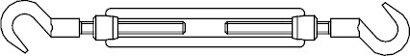 DIN 1480 Stahl SP-HH galv. vz. Spannschlösser geschmiedet offene Form m. 2 Haken