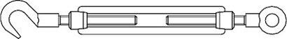 DIN 1480 Stahl SP-RH galvanisch verzinkt Spannschlösser Ringöse und Haken