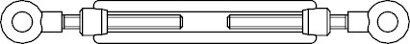 DIN 1480 A 2 SP-RR Spannschlösser geschmiedet, offene Form, mit 2 Ringösen