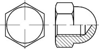 DIN 1587 A 2 Sechskant-Hutmuttern, hohe Form