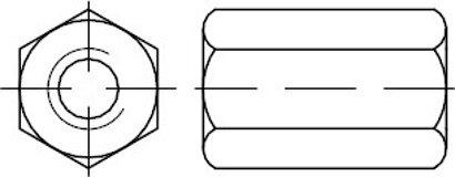 DIN 6334 10 galvanisch verzinkt Sechskantmuttern mit einer Höhe von 3 d