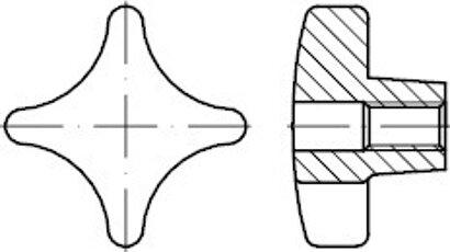 DIN 6335 Grauguss Form D Kreuzgriffe, mit Gewinde-Durchloch
