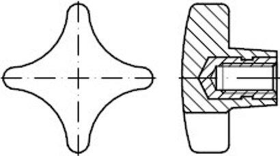 DIN 6335 Kunststoff Form K-St schwarz Kreuzgriffe, mit Gewindebuchse