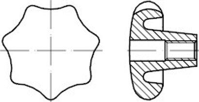 DIN 6336 Grauguss Form D Sterngriffe, mit Gewinde-Durchloch