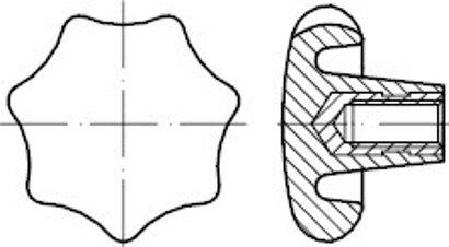 DIN 6336 Kunststoff Form K-St schwarz Sterngriffe, mit Gewindebuchse