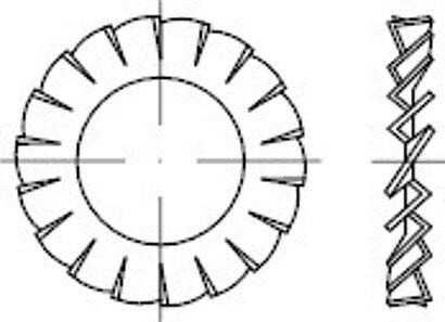 DIN 6798 Federstahl Form A galvanisch verzinkt Fächerscheiben, außengezahnt