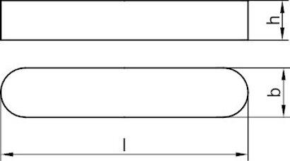 DIN 6885 Stahl C45+C Form A Passfedern, hohe Form, rundstirnig ohne Bohrung(en)