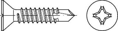 DIN 7504 Stahl Form P-H galvanisch verzinkt Bohrschrauben mit Senkkopf