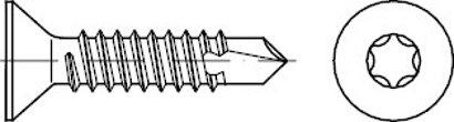 DIN 7504 Stahl Form P-ISR galvanisch verzinkt Bohrschrauben mit Senkkopf ISR