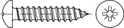 DIN 7981 Stahl Form C-Z galvanisch verzinkt Linsen-Blechschrauben