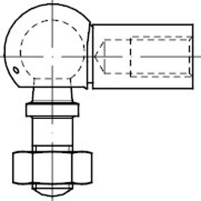 DIN 71802 Stahl Form AS galvanisch verzinkt Winkelgelenke mit Gewindezapfen