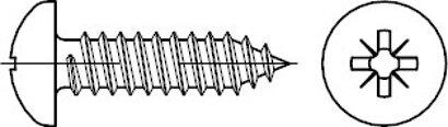 ISO 7049 Stahl, geh. Form C-Z galvanisch verzinkt Linsenkopf-Blechschrauben