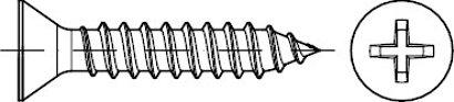 ISO 7050 A 2 Form C-H Senk-Blechschrauben