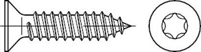 ISO 14586 A 2 Form C- ISR Senk-Blechschrauben, mit Spitze, mit Innensechsrund