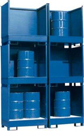 Gefahrstoffstation Stahl, Seiten-/Rückwand geschlossen, RAL 5010