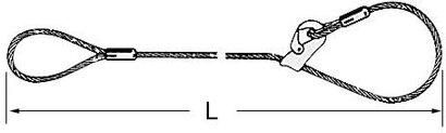 Anschlagseil Klasse D, 1 m Fertiglänge, 1 Schlaufe, 1 Gleithaken