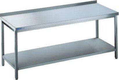 Edelstahl-Arbeitstisch mit fest eingeschweißtem Zwischenboden