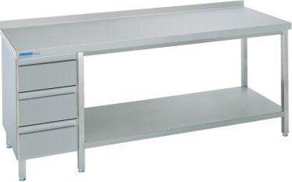 Edelstahl-Arbeitstisch mit Schubladenblock