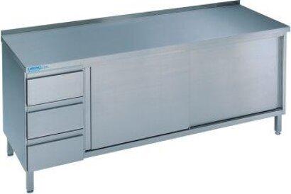Edelstahl-Arbeitsschrank, mit Schubladenblock und Schiebetür