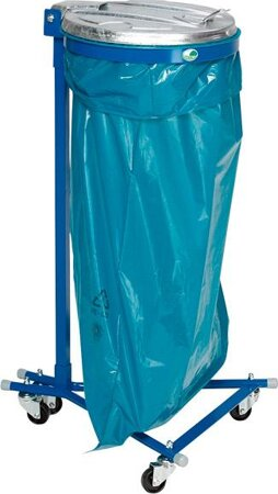 Abfallsammler, fahrbar, mit 4 Laufrollen, verzinkter Metall-Deckel