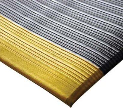 Arbeitsplatzbodenbelag Orthomat® Ribbed mit Sicherheitsmarkierung, grau-gelb