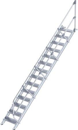 Aluminium-Industrietreppe mit Handlauf, Neigung 45°, Stufenbreite 600 mm