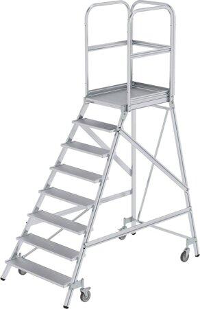 Aluminium-Podesttreppe, einseitig begehbar, Alu, geriffelt