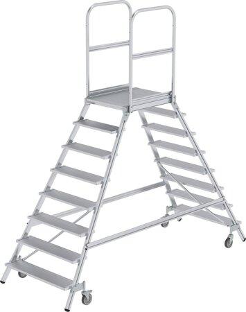 Aluminium-Podesttreppe, zweiseitig begehbar, Alu, geriffelt