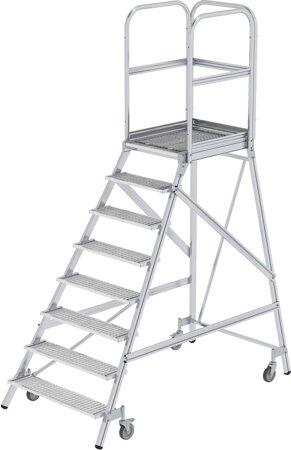 Aluminium-Podesttreppe, einseitig begehbar, Stahl-Gitterrost