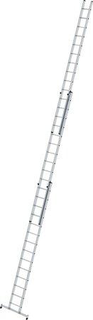 Aluminium-Schiebeleiter 3-teilig rutschfester Leiterschuh und nivello®-Traverse