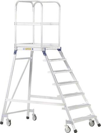 Podesttreppe, fahrbar, einseitig begehbar, mit Leichtmetall-Stufen und Plattform