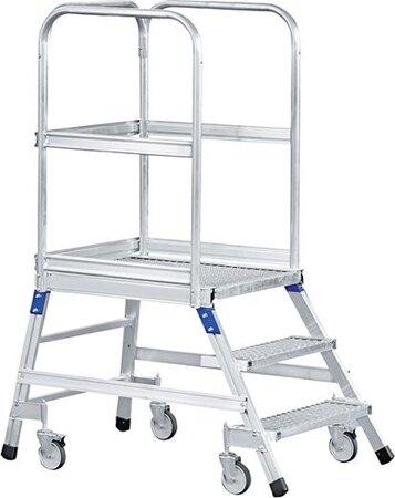 Podesttreppe, fahrbar, eins. begehbar, mit Stahlgitterrost-Stufen und Plattform
