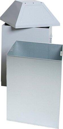 Abfallsammler mit zwei Einwurfklappen, RAL 9006 weißaluminium