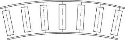 Klein-Rollenbahn mit Stahlrollen, gebogen 45°