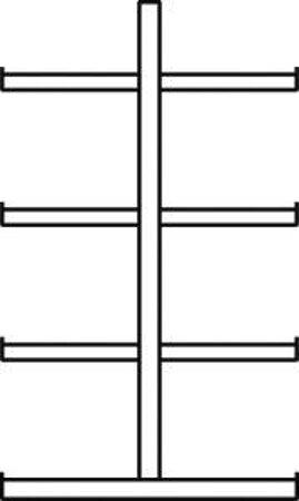 Doppelseitig Kragarmregal MULTISTRONG L IPE 120, Regalhöhe 2500 mm