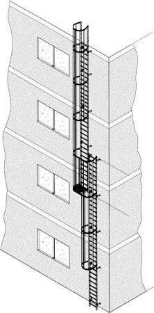 Mehrzügige Steigleiter, Aluminium, eloxiert