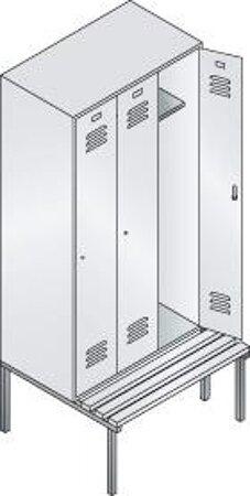 Garderobenschrank mit untergebauter Sitzbank, Serie Classic, Höhe 2090 mm
