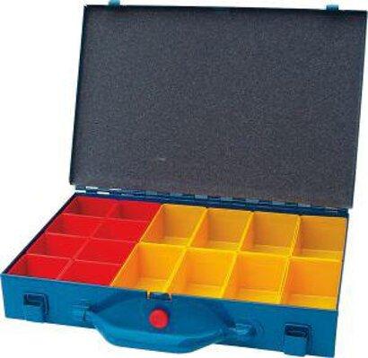 Metall-Sortimentskasten mit 16 Kunststoffboxen