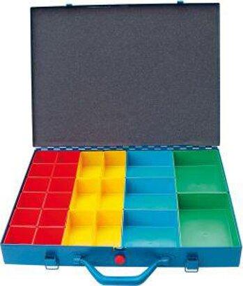 Metall-Sortimentskasten mit 23 Kunststoffboxen