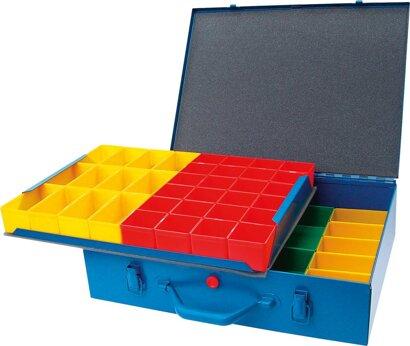 Metall-Sortimentskasten mit 48 Kunststoffboxen